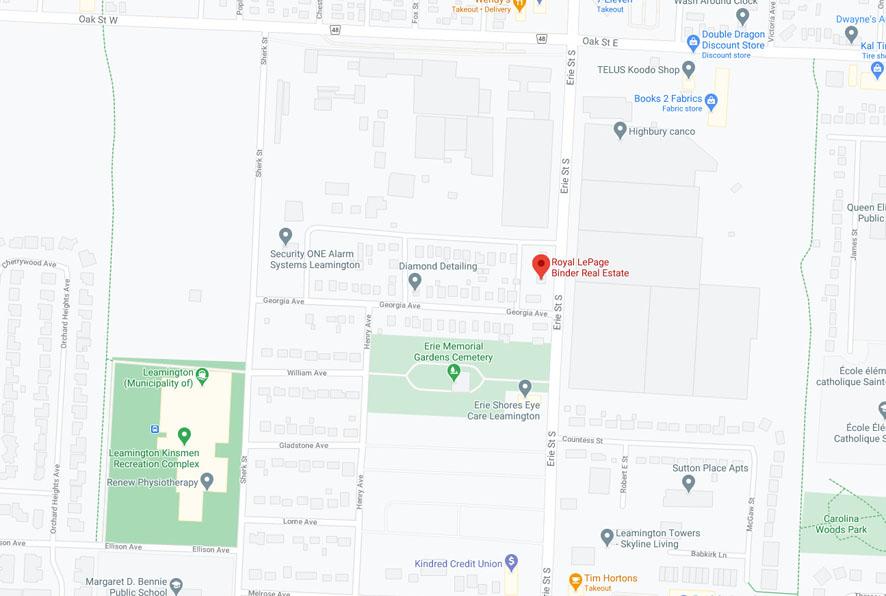 Map to Royal LePage Binder Real Estate in Leamington